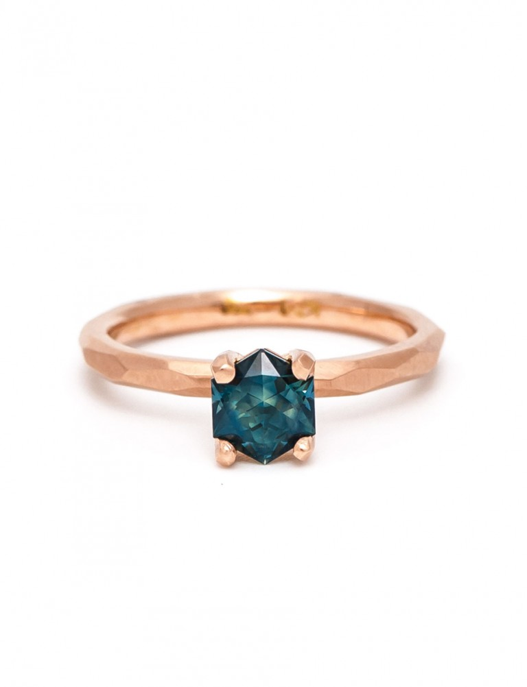 Narelle Hexagon Sapphire Ring – Rose Gold