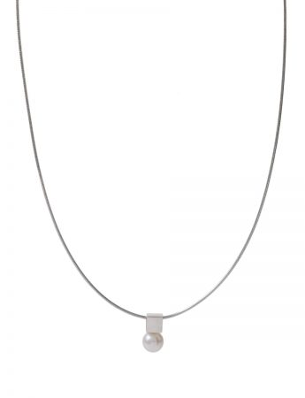 Polished Cube Pearl Necklace - Silver