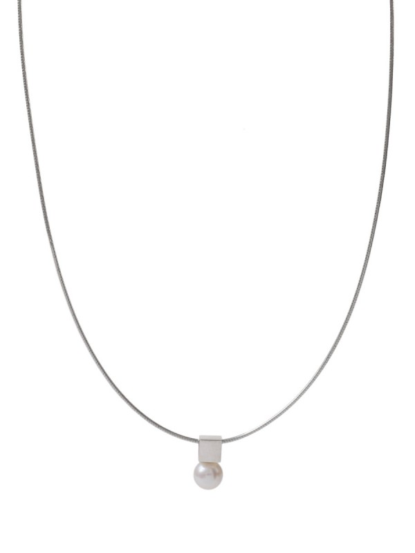 Polished Cube Pearl Necklace – Silver