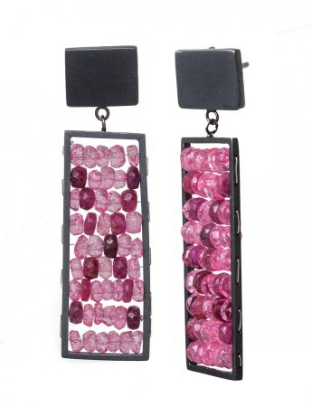Rectangle Reef Earrings - Ruby and Topaz