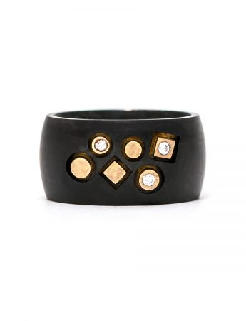 Stonemason Ring - Black, Yellow Gold & Diamonds