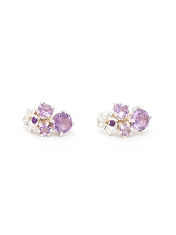 Violet Drop Amethyst Stud Earrings