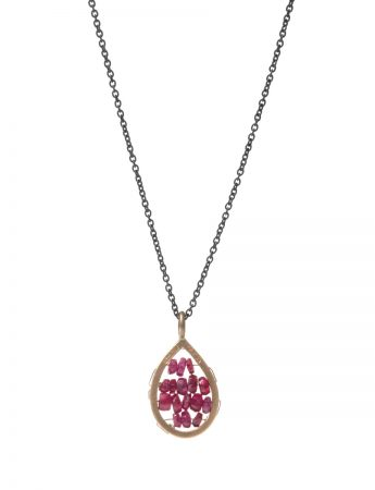 Tiny Narrow Teardrop Reef Necklace - Ruby