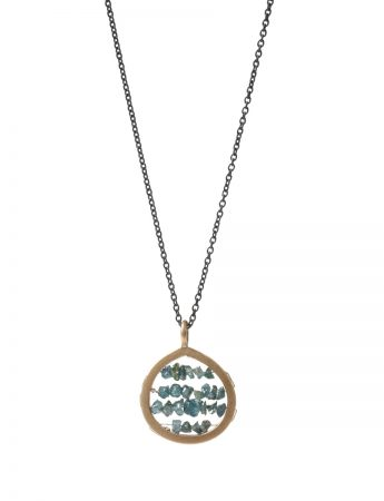 Small Broad Teardrop Reef Necklace - Blue Diamond Chips