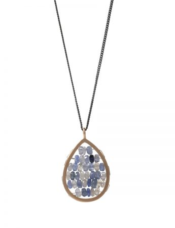 Small Teardrop Reef Necklace - Blue & Grey Sapphire