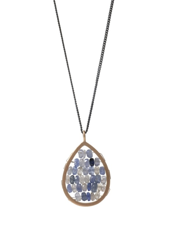 Small Teardrop Reef Necklace – Blue & Grey Sapphire