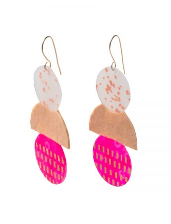 Hot Pink & Peach Ice Cream Earrings