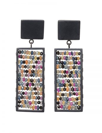 Rectangle Reef Earrings - Black Diamond, Ruby & Sapphire