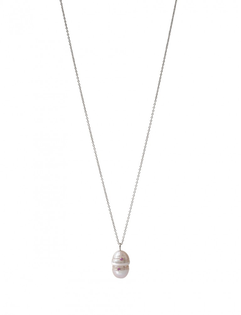 Party Pearl Pendant Necklace – Pink Sapphires