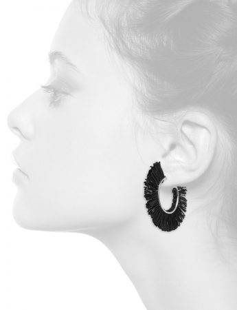 Black Fringed Linen Hoop Earrings
