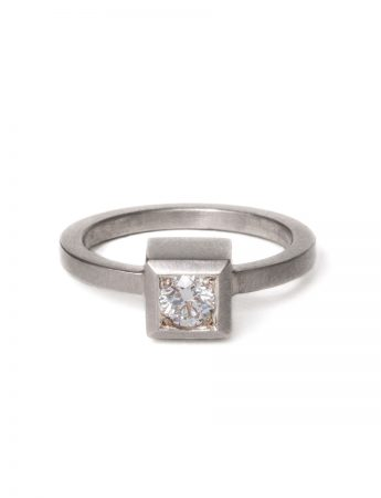 Cube Diamond Ring - White Gold