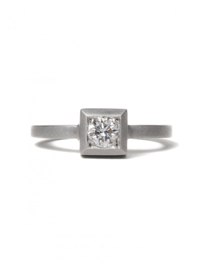 Cube Diamond Ring – White Gold