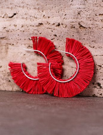 Red Fringed Linen Hoop Earrings
