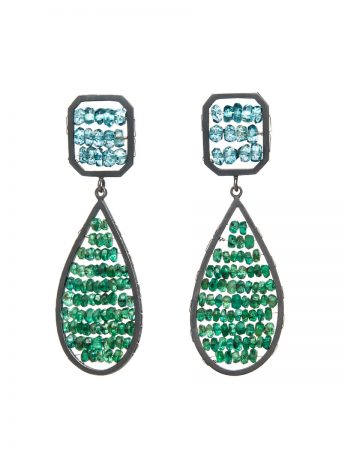 Double Reef Earrings - Topaz & Emerald
