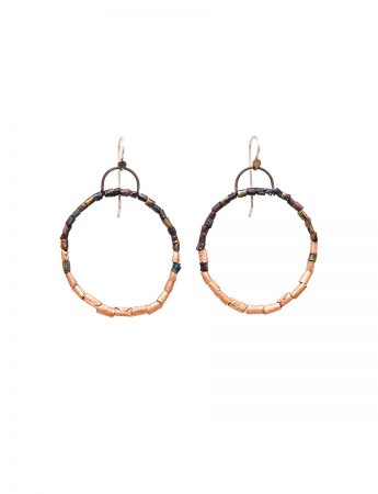 Beaded Open Hoop Earrings - Pink