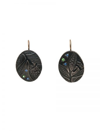 Black Leaf Imprint Hook Earrings – Sapphire & Garnet