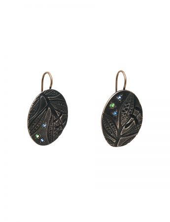 Black Leaf Imprint Hook Earrings - Sapphire & Garnet