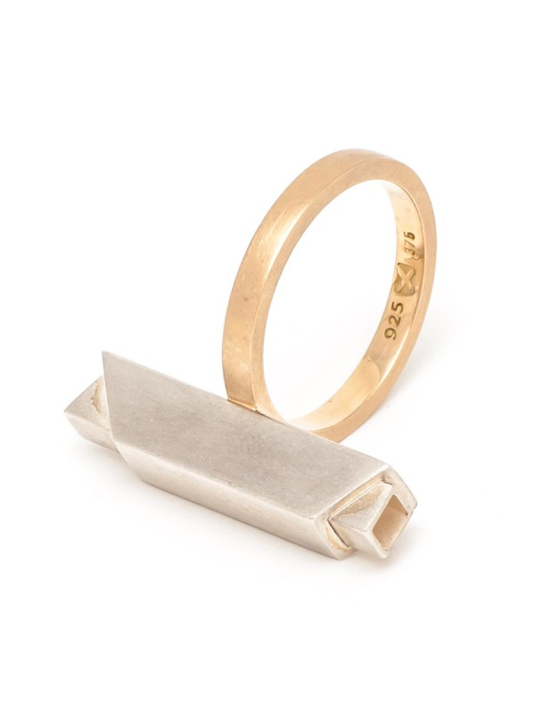 City Ring – Silver & Yellow Gold