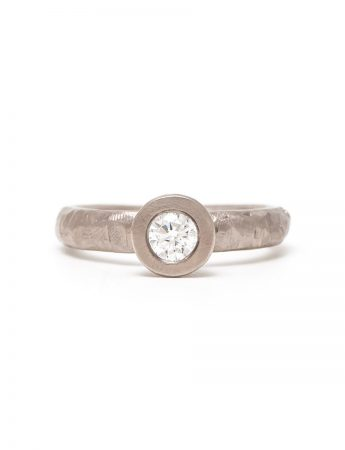 Diamond Heart Solitaire Ring - White Gold