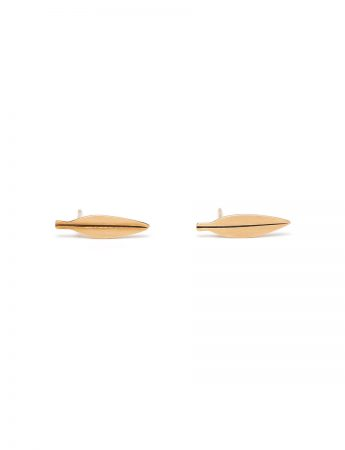 Tiny Eucalyptus Leaf Stud Earrings - Gold