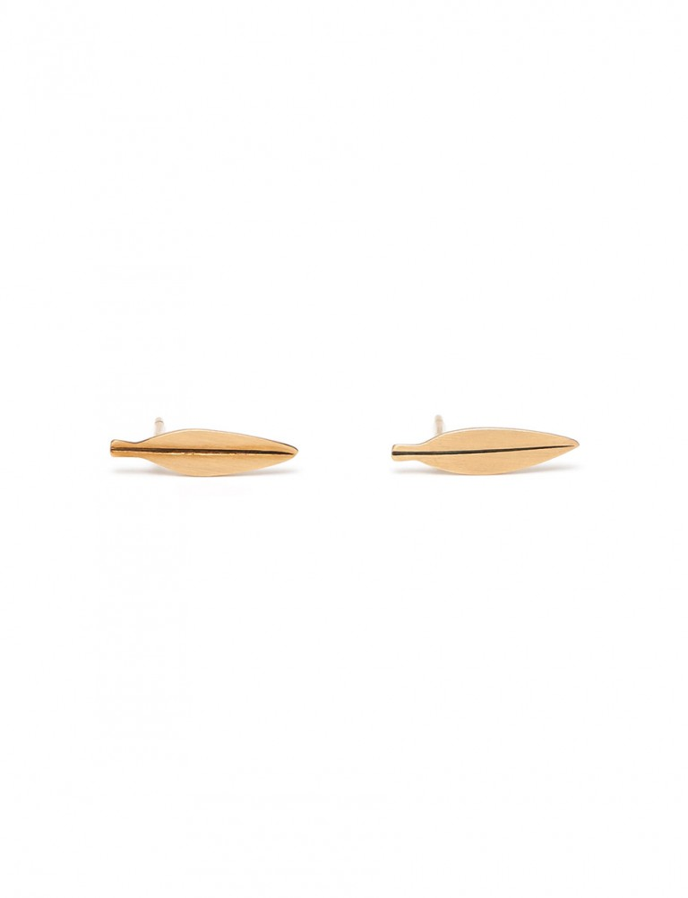 Tiny Eucalyptus Leaf Stud Earrings – Gold
