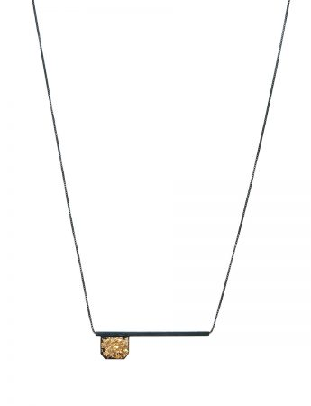 Flag and Line Necklace - Black and Gold