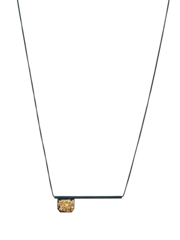Flag and Line Necklace – Black and Gold