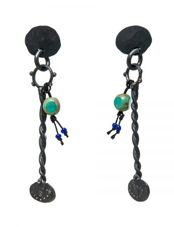 Haephisto Earrings - Blackened Silver & Vintage Glass