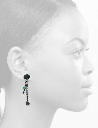 Haephisto Earrings – Blackened Silver & Vintage Glass