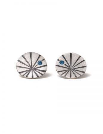Large Fan Shell Stud Earrings - Tourmaline