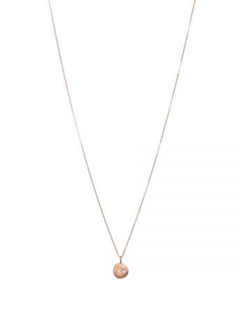 Rose Gold Neru Mini Disc Charm Necklace - Sapphire