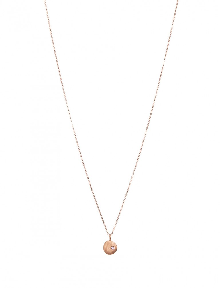 Rose Gold Neru Mini Disc Charm Necklace – Sapphire