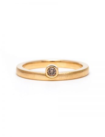 Offset Champagne Diamond Ring - Yellow Gold