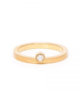 Offset Diamond Ring - Yellow Gold