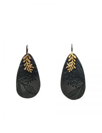 Oval Leaf Imprint Earrings - Black & Gold