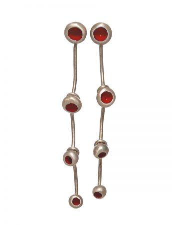 Gouttes Fleur Four Drop Earrings - Red