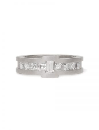 Baguette & Carre Diamond Ring - White Gold