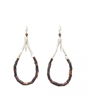 Beaded Open Hoop Drop Earrings