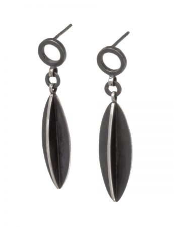 Black Circle Leaf X Series Dangle Earrings