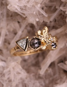 Crystal Cluster Ring - Salt and Pepper Diamonds - Aurelia Yeomans - Instamood