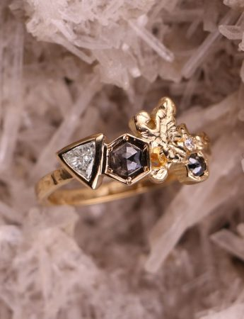 Crystal Cluster Ring - Yellow Gold & Diamonds