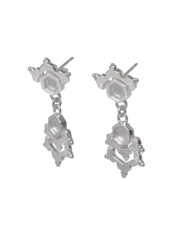 Crystal Drops Earrings - Silver