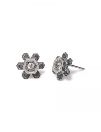 Crystal Nucelus Stud Earrings - White Sapphire