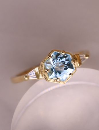 Crystalline Frequency Ring - Blue Topaz & Diamonds