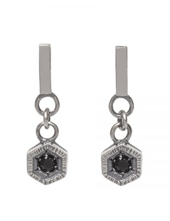 Dark Drop Earrings - Black Spinel