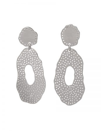 Double Piece O Earrings - Silver