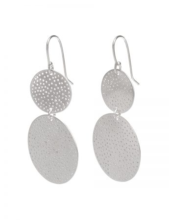 Large Double Disk Earrings - Silver