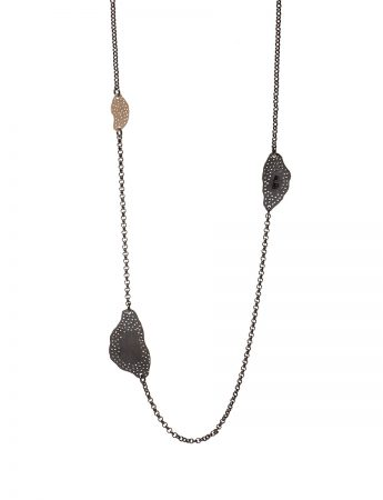 Long Cloud Necklace - Black & Gold