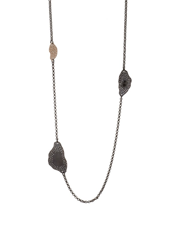 Long Cloud Necklace – Black & Gold