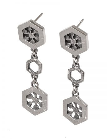 Silver Crystal Drop Earrings - Medium